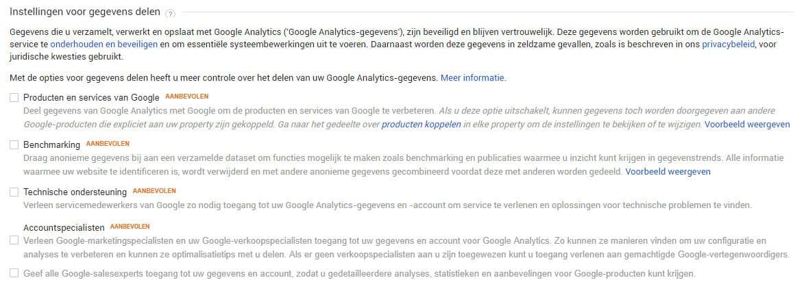 Deel geen gegevens met Google Analytics