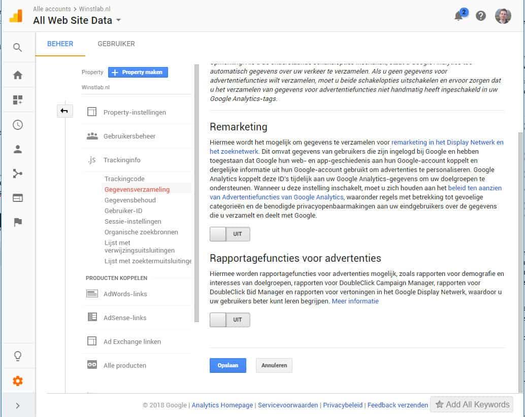 Schakel tracking uit in google analytics